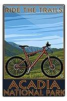アカディア国立公園メイン州、–自転車シーン 12 x 18 Metal Sign LANT-33302-12x18M