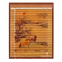WENZHE すだれ 竹屏幕 竹スクリーン ウッドブラインド 無垢材 持ち上げることができる 日焼け止め 陰 ホーム オフィス ベッドルーム 多用途、 3つのスタイル、 23サイズ (色 : B, サイズ さいず : 135x175cm)