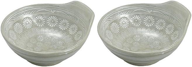 萬古焼 銀峯陶器 花三島 とんすい 2個セット
