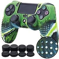 PS4 コントローラー用 ちりばめ シリコン スキン ケース 保護カバー x 1 (迷彩グリーン ) 耐衝撃 高品質 + FPS PRO ティック カバー x 8