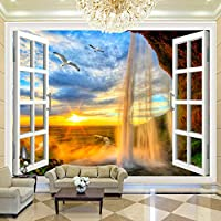 LJJLM 3D写真壁紙サンセット滝3D立体窓風景大壁画壁紙リビングルーム現代の壁の装飾-120X100CM
