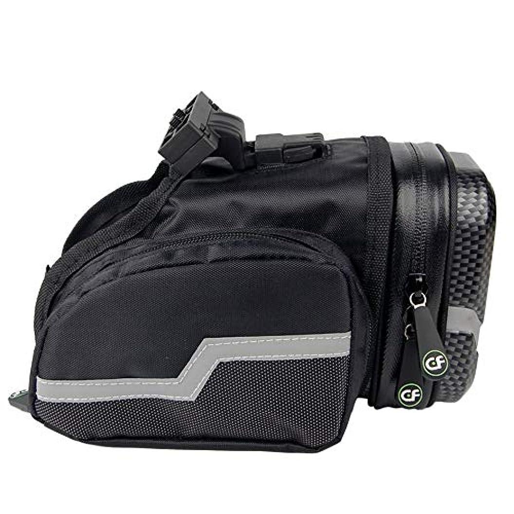 そうでなければ評決重量自転車サドルバッグ 反射性の縞が付いている防水バイク袋の自転車の革紐のサドルバッグ スポーツ自転車自転車収納バッグ (Color : Black, Size : 19.3*9.7*11.8)