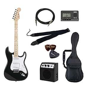 PhotoGenic エレキギター 初心者入門バリューセット ストラトキャスタータイプ ST-180M/BK ブラック メイプル指板