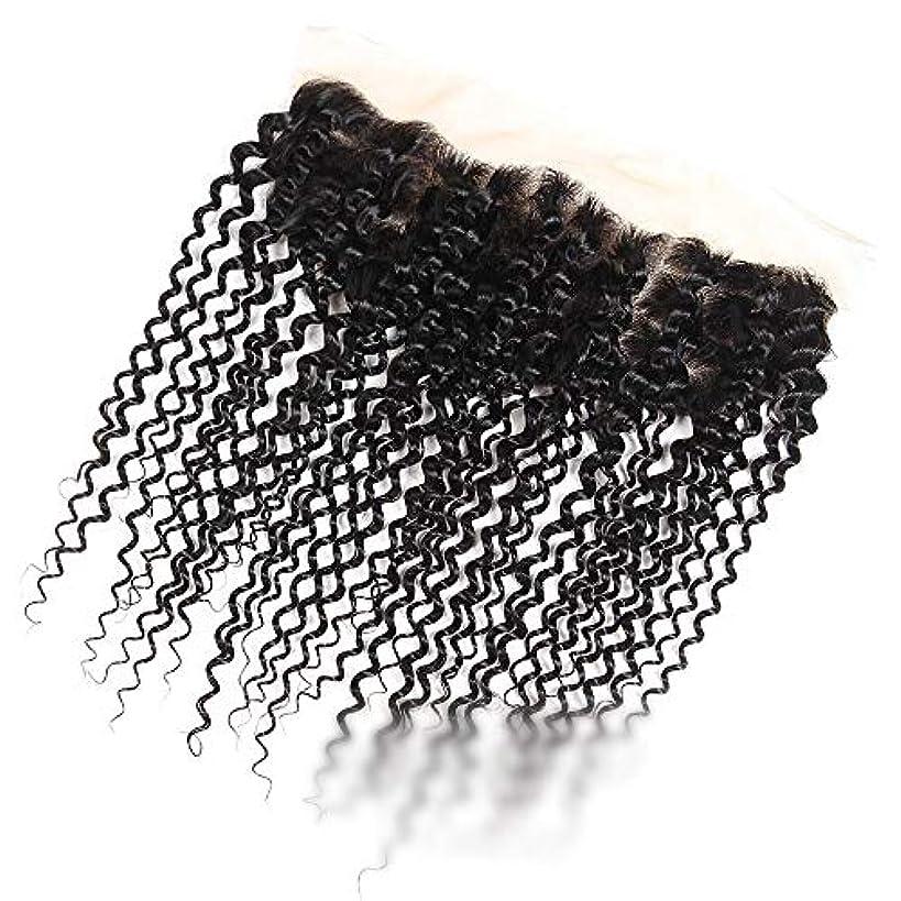 輝くによって密度ブラジルのジェリーカーリーウェーブ人間の髪の毛無料パーツ13×4インチレース前頭閉鎖ナチュラルカラー髪 モデリングツール (色 : 黒, サイズ : 10 inch)