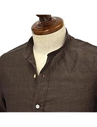 Finamore【フィナモレ】半袖バンドカラーシャツ GIGLIO LORENZO 080265 8 コットン リネン ブラウン