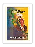 西 - アメリカンインディアンチーフ - ウェスタン航空 - ビンテージな航空会社のポスター によって作成された E・カール・レイク c.1950s -プレミアム290gsmジークレーアートプリント - 46cm x 61cm