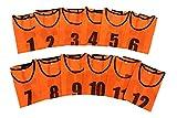 ビブス1番~12番 サッカーフットサルベスト ネオンカラー オレンジ
