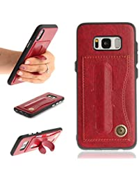 OMATENTI Galaxy S8ケース カード収納 スタンド 機能 PUレザー 耐衝撃 保護ケース 柔軟性TPUカバー ギャラクシ S8 用 (5-レッド)