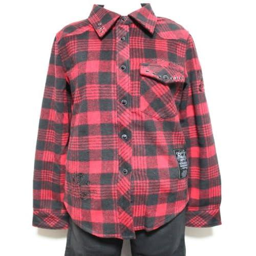 Ed Hardy エドハーディ edhardy エド ハーディー レディースネルチェックシャツ レッドxブラックフランネルシャツ