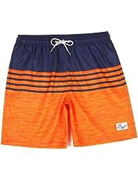 ルーズストライプ メンズ夏の水着パンツ クールビーチパンツ メッシュライニング (サイズ : M)