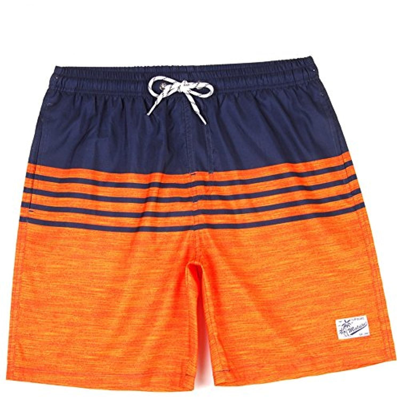 マルチサイズ ルーズストライプ メンズ夏の水着パンツ クールビーチパンツ メッシュライニング (サイズ : XL)
