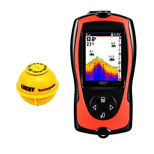 Luckylaker 魚群探知機 ポータブル カラースクリーン カーアダプター、ACアダプター付き usb充電