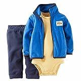 Carter's(カーターズ) ベビー フリースジャケット / ボディスーツ / ロングパンツ 3点セット (ブルー) Baby 3-Piece Cardigan Bodysuit & Pants Set