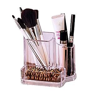 ZUOMAメークボックス 化粧品収納ボックス コスメスタンド メークケース メイクブラシ収納 小物/化粧品入れ コスメ収納 透明アクリル ジュエリーボックス 大容量 (クリア)
