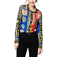 SANHION Women's Casual Long Sleeve Shirts Paisley Printed Button Down Blouses Tops