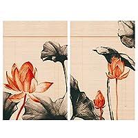 CAIJUN 竹ブラインド 竹 ールカーテン 2PCS 墨絵 カスタマイズ可能 日焼け止め 換気 デコレーション 中華風、 3つのスタイル 21サイズ (色 : A, サイズ さいず : 270x225cm)