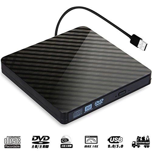 QueenDer DVDドライブ USB 3.0外付けCD DVDドライブ ポータブル レコーダー 高速静音 プレイヤー CD/DVD読取・書込 スリム バーナー DVD±RW CD±RW Windows 10/XP/Vista/8/7/Mac OSに対応 ノートパソコン/Macbook/デスクトップパソコンにも適用