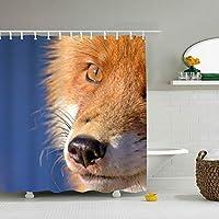 シャワーカーテン 防カビ 防水 おしゃれ かわいい 面白い 狐 バスカーテン お風呂カーテン 窓用 目隠し用 間仕切り カーテンリング付属 取付簡単