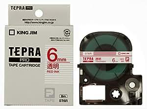 キングジム テープカートリッジ テプラPRO 6mm ST6R 透明 赤文字