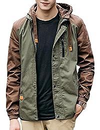 maweisong メンズカジュアルスリムフィット防風フードブロックジャケット