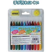 12色プラスチッククレヨン 【まとめ買い12個セット】 31-043