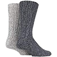 SockShop Mens Ribbed Wool Boot Socks 2 Pair with Smooth Toe Seams
