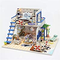 家具付きドールハウスミニチュア 淡いブルーカバー海岸ゾーン手作りDiy Hut組立モデルヴィラ木製おもちゃ誕生日ギフト木製人形家具とアクセサリー、女の子のための教育玩具 - ミニジオラマハウスリフォームDIYドールハウス - クリエイティブクリスマスギフト