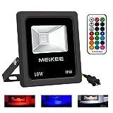 MEIKEE 10w 360°全方位無線コントロールRGBフラッドライト LED投光器 リモコン操作 防水仕様IP66 赤・緑・青 16色イルミネーション 投光機 舞台照明 看板灯 作業灯 ワークライト リモコン付き