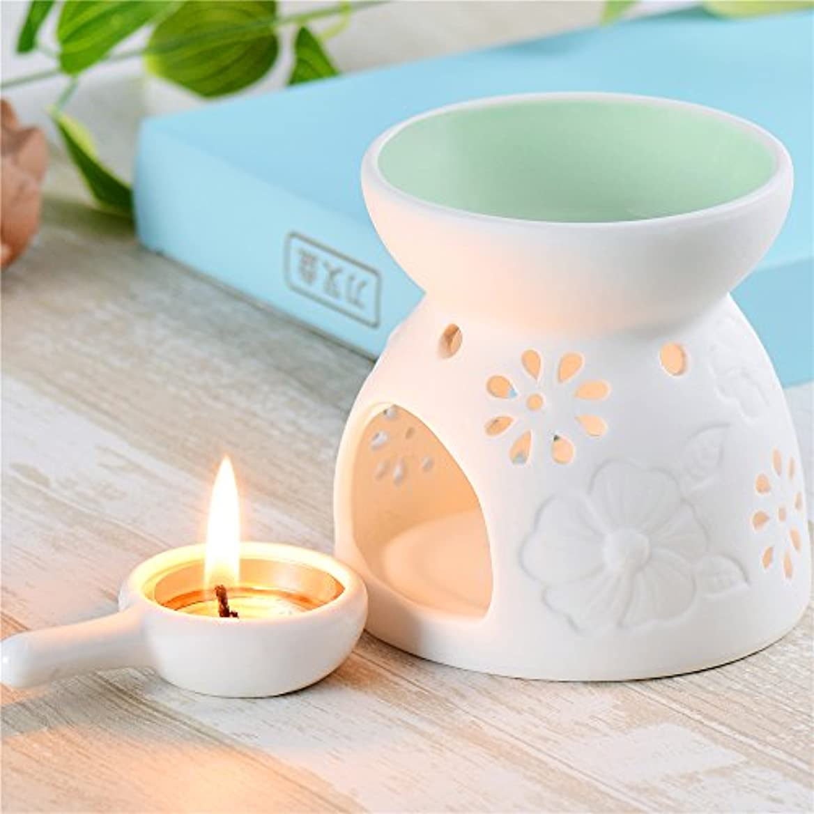 セラミックEssential Oil Warmer : Great for瞑想、アロマセラピー – Fragrance Diffuser使用with Tea Lights – Ideal For Wedding Gifts...