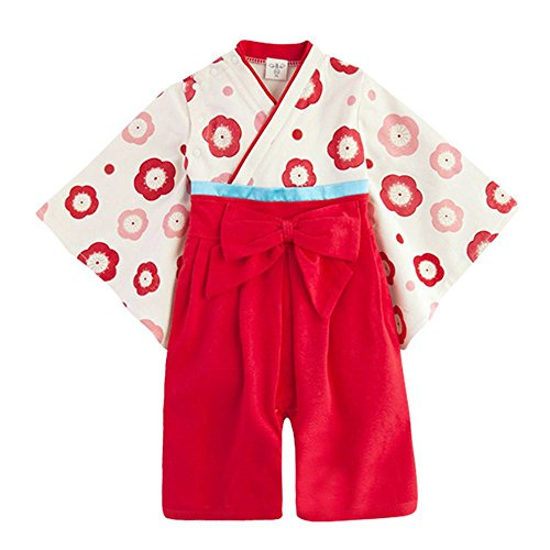 (キッズクール) Kizzu Kuru100%綿 女の子 ベビー用 ロンパース 着物 フォーマル お宮参り 七五三 赤ちゃん 記念