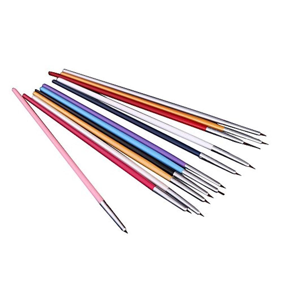オズワルドアシスト最初はSODIAL(R) 12xペンとブラシ ネイルアートのため 研磨ネイルペインティングDIY 専門ツール