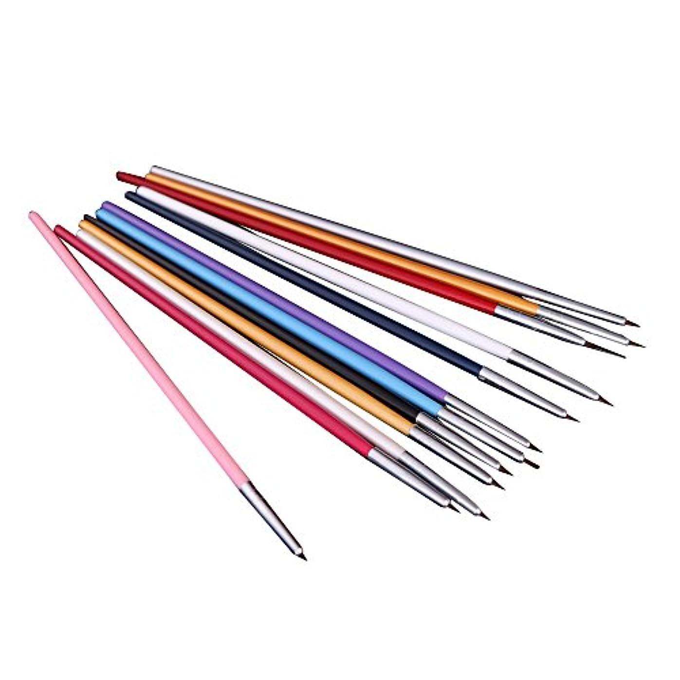 キモい仕立て屋ひねくれたSODIAL(R) 12xペンとブラシ ネイルアートのため 研磨ネイルペインティングDIY 専門ツール