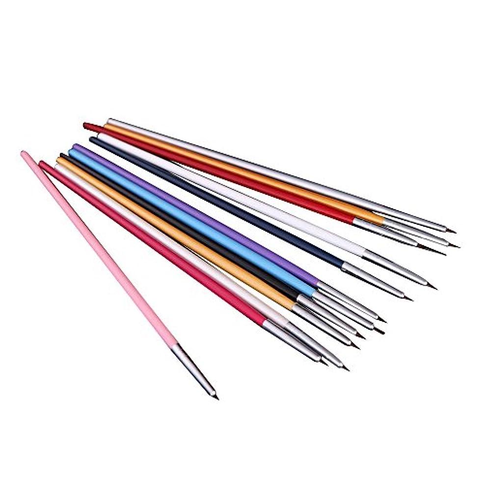 精度トレイルエンコミウムSODIAL(R) 12xペンとブラシ ネイルアートのため 研磨ネイルペインティングDIY 専門ツール