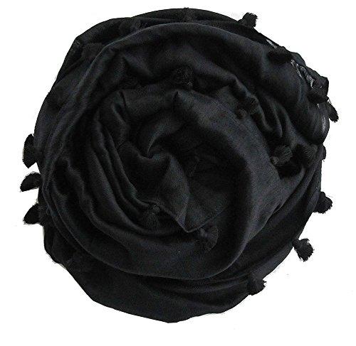 (シトラス) CITRUS 正規直輸入品 無地ポンポン付 ウール シルク ストール (Black)