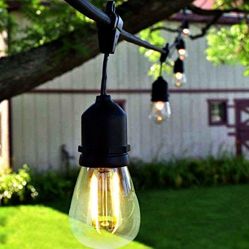 BRTLX ストリングライト 防雨型 15m15灯 LEDイルミネーションライト LED電球付き 連結可能 2700k 電球色相当 E26 黒 ソケット 15個付き クリスマス 誕生日パーティー電飾