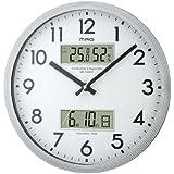 MAG(マグ) 壁掛け時計 ダブルウィンドウ 連続秒針 温度表示 湿度表示 シルバーメタリック W-563SM