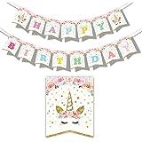 誕生日 バナー ユニコーン happy birthday ガーランド ピンク 可愛い 飾り付け ハッピーバースデー 女の子 バースデー デコレーション 17枚セット