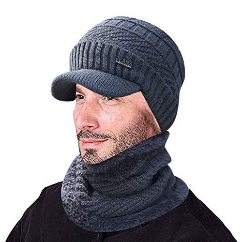 男性暖かいビーニー冬は帽子とスカーフツーピースニット防風キャ...