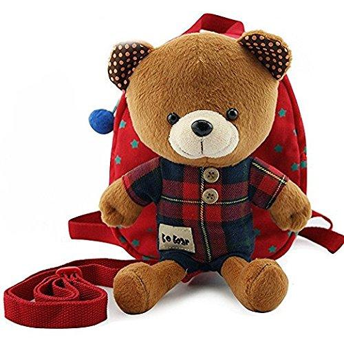 Cuby 迷子防止ひも リード付き ベビー リュック クマ ぬいぐるみ ( 1-6歳子供リュックサック ベビーギフトや贈り物) (レッド)