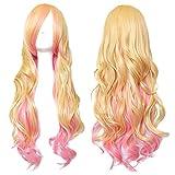 CaseEden (ケースエデン) マクロスF シェリル・ノーム コスプレ用ウィッグ ロングカーリーヘア 80cm 耐熱 ゴールド&ピンク 金髪 & ホワイトメルチェ・ウィッグネット2個セット(黒色&肌色)
