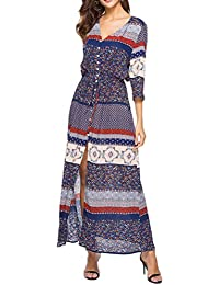 74a663529e655 Zhhlaixing 人気 レディース Printed Tie-Waist 夏服 Beachwear 3/4 Sleeve Cover Up Boho  Maxi Dress Evening…