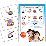 Food Preparation Flashcards in German Language - Flash Cards with Matching Bingo Game for Toddlers, Kids, Children and Adults - Size 4.13 × 5.83 in - DIN A6