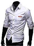 ( UN ANANAS ) NDO183S ポッケ チェック 7分 ボタン 綿 ワイシャツ 通勤 男性 メンズ シャツ 会社 おしゃれ (ホワイトXL)