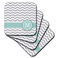 (set-of-8-Soft) - 3dRose cst_154232_2 Letter M Monogrammed on Grey and White Chevron with Mint Grey Zigzags Personal Initial Zig Zags Soft Coasters, Set of 8