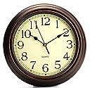 winkong スイープムーブメント式掛け時計 防塵クロック静音 壁掛け 直径約30cm ブラウン クラシック 静音