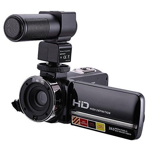 IFLYING ナイトビジョンビデオカメラ HDV-301M 1080P 16倍デジタルズーム 3吋タッチスクリーン ポータブル 液晶HDVビデオカムコーダー マイク付き