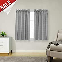(110cm Curtains, Grey) - jinchan Waffle Weave Half Window Curtains for Kitchen/Bathroom Window Treatment Tiers Set (180cm by 110cm Long, Grey, One Pair)
