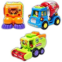 lidodoのセット3 Friction Powered Car Toys , Street Sweeperトラック、セメントミキサートラック、Harvester Toy Truck for Boysおもちゃ