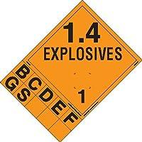Labelmaster PSR72-SP Explosive Class 1.4 Hazmat Placard with Tabs Removable Vinyl (Pack of 25) [並行輸入品]