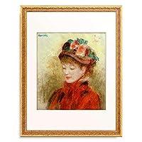ピエール=オーギュスト・ルノワール Pierre-Auguste Renoir 「Jeune femme au chapeau aux fleurs」 額装アート作品